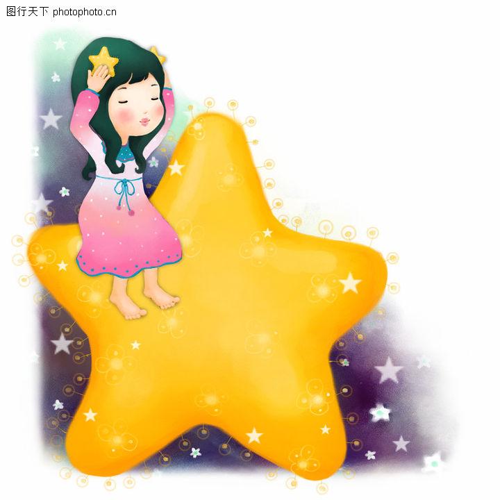 可爱小仙子,彩绘人物情景模板,黄色 星星 梦幻,可爱小仙子0066