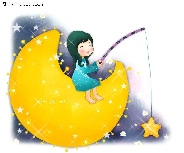 可爱小仙子,彩绘人物情景模板,弯月 垂吊 星星,可爱小仙子0071