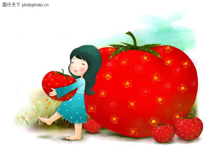 可爱小仙子,彩绘人物情景模板,小仙子 搬起 大红果,可爱小仙子0079