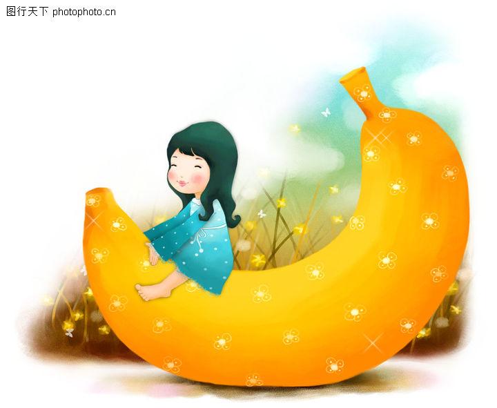 可爱小仙子,彩绘人物情景模板,巨型 香蕉 抱坐,可爱小仙子0080