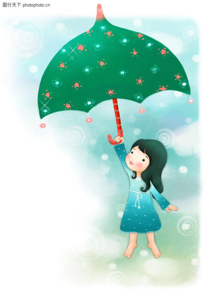 可爱小仙子,彩绘人物情景模板,绿伞 童真 梦想,可爱小仙子0083