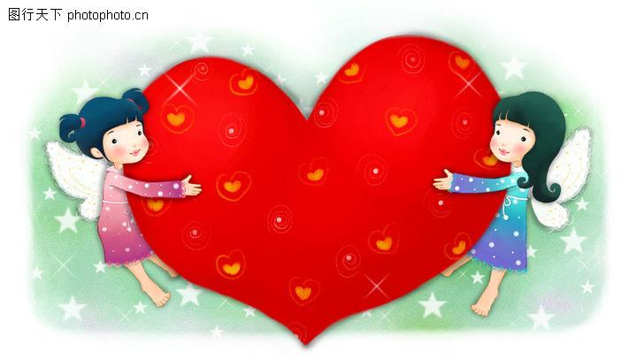 可爱小仙子,彩绘人物情景模板,爱心 相互 给予,可爱小仙子0086