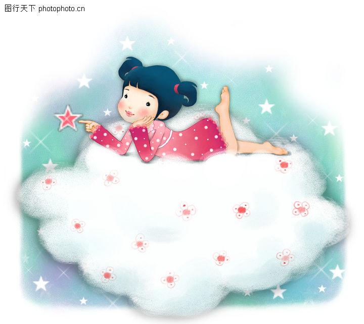 可爱小仙子,彩绘人物情景模板,趴卧 白云 幻想,可爱小仙子0087