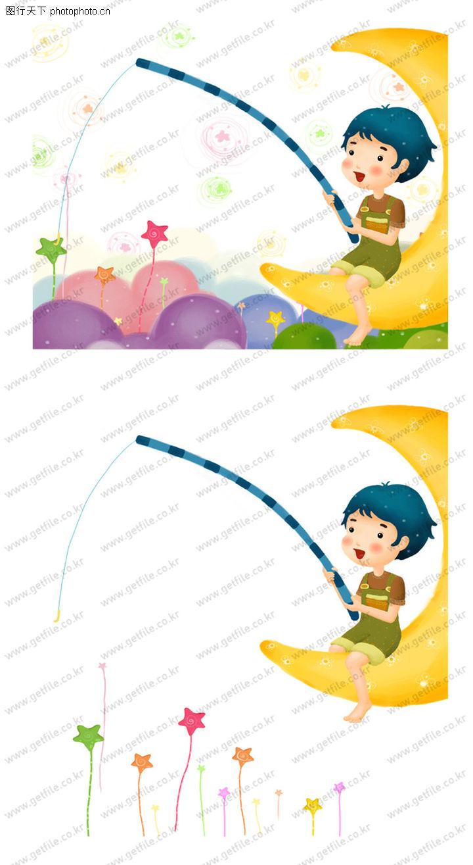可爱小仙子 彩绘人物情景模板 弯月 童心 趣味
