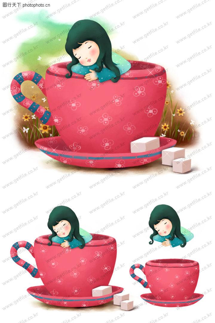 可爱小仙子,彩绘人物情景模板,硕大 茶缸 睡觉,可爱小仙子0110