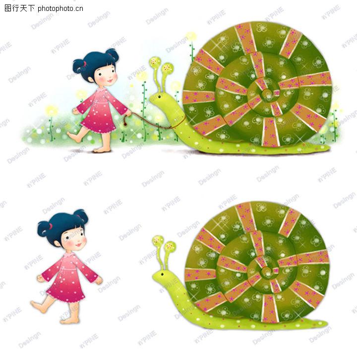 可爱小仙子,彩绘人物情景模板,牵引 蜗牛 脖子,可爱小仙子0125