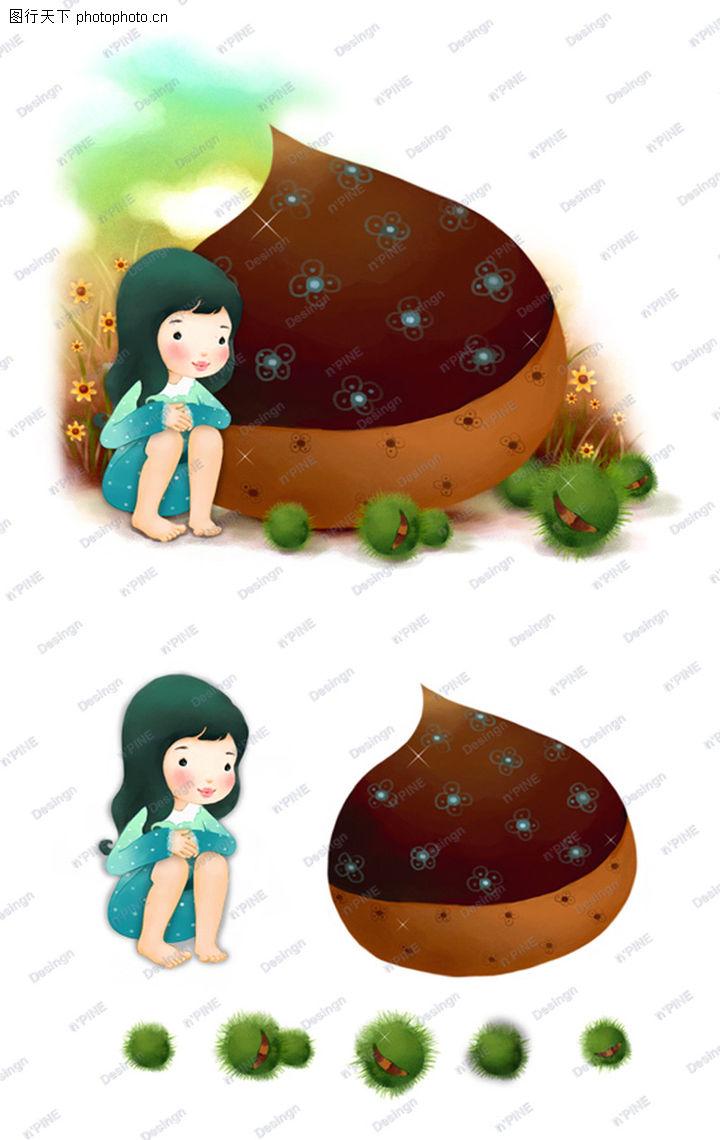 可爱小仙子,彩绘人物情景模板,蹲坐 孤独 少女,可爱小仙子0131