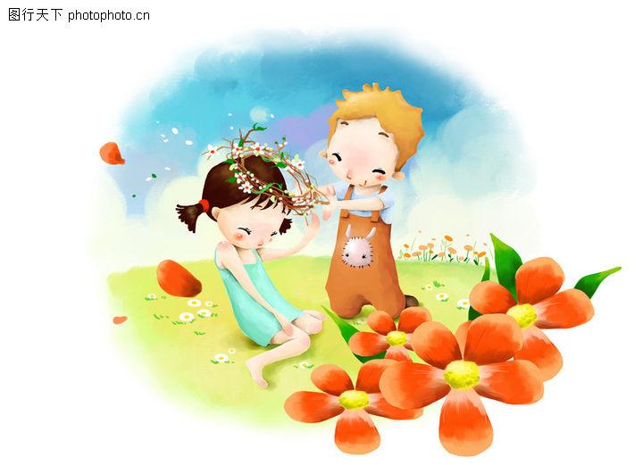 可爱小情侣,彩绘人物情景模板