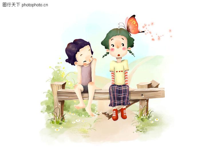 可爱小情侣,彩绘人物情景模板,停歇 斜视 小蝶 吃惊 偷笑 小孩 小朋友
