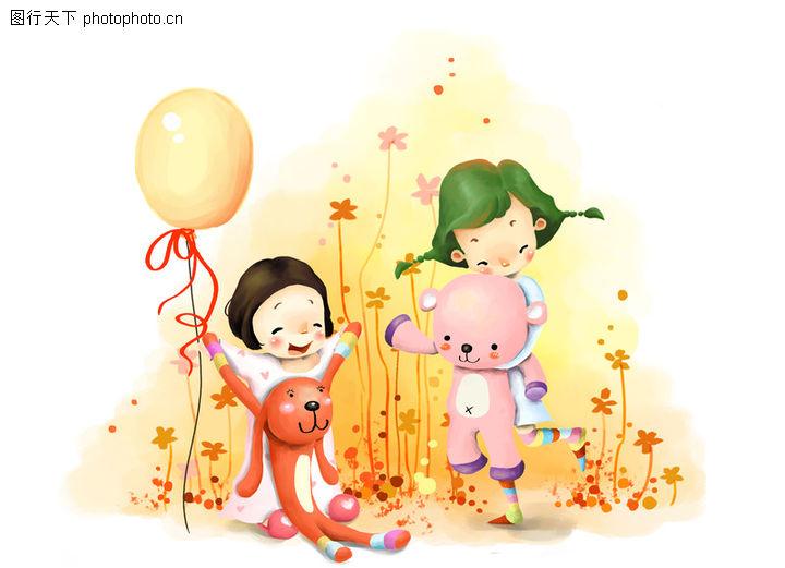 可爱小情侣 彩绘人物情景模板 玩乐 小狗 花丛 演戏 小球 小孩 小朋友