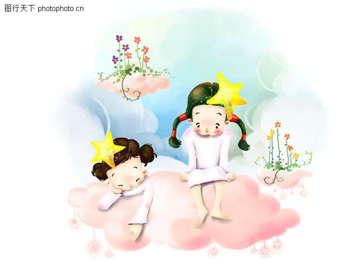 疲劳 小孩 小朋友 两小无猜 童年 稚童 童话 玩乐 玩耍 彩绘,可爱小