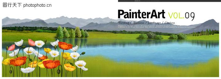 实物风景,彩绘人物情景模板,湖