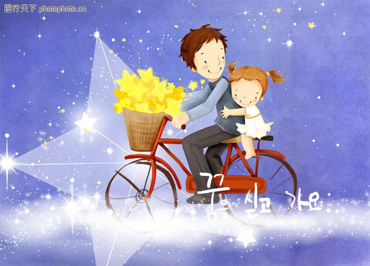 幸福家庭生活,彩绘人物情景模板,自行车 载人 抱紧 安全 回头的爱 韩国彩绘 家庭 天伦之乐 一家人 父子 童话 玩乐 玩耍 ,幸福家庭生活0011
