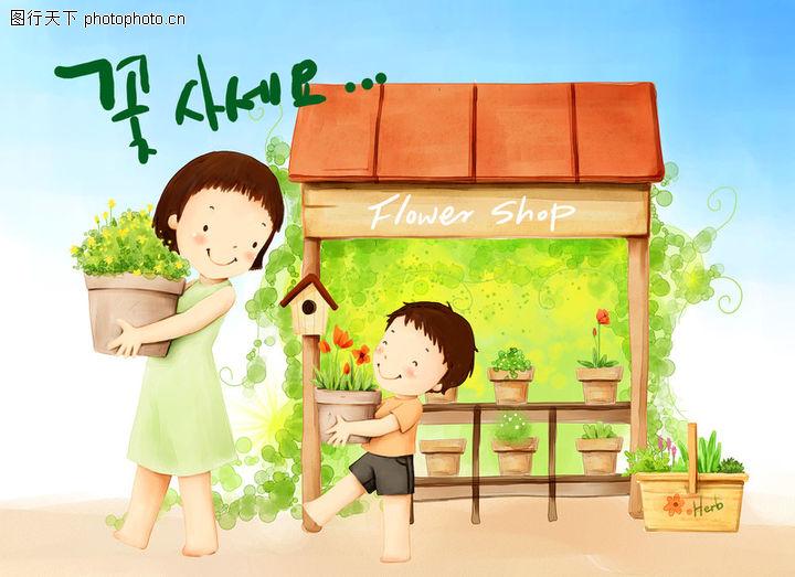 幸福家庭生活,彩绘人物情景模板,载盆 搬运 劳动 花架 笑容 小孩 小朋友 两小无猜 童年 稚童 童话 玩乐 玩耍 彩绘,幸福家庭生活0025