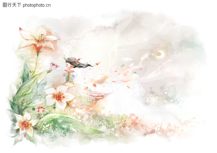 彩绘人物情景模板,花仙子
