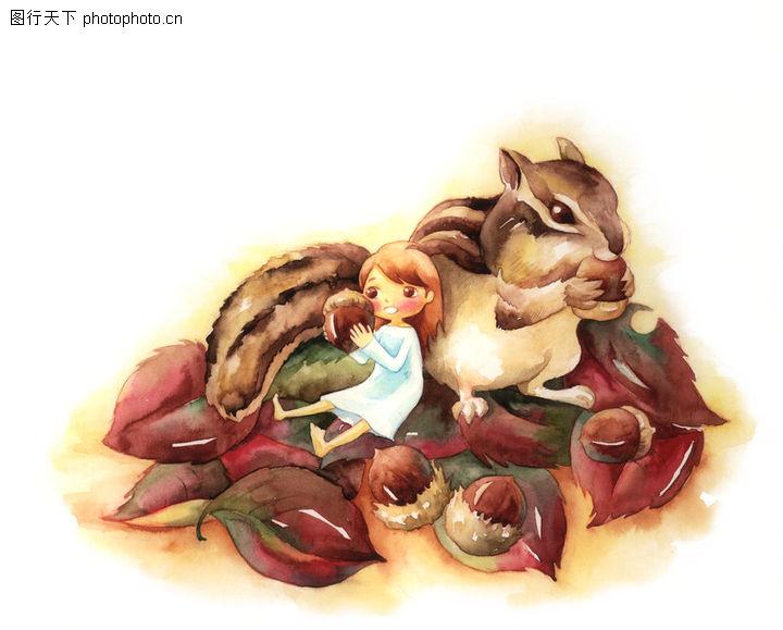 拇指女孩与花,彩绘人物情景模板,松果 松鼠 友好,拇指女孩与花0020