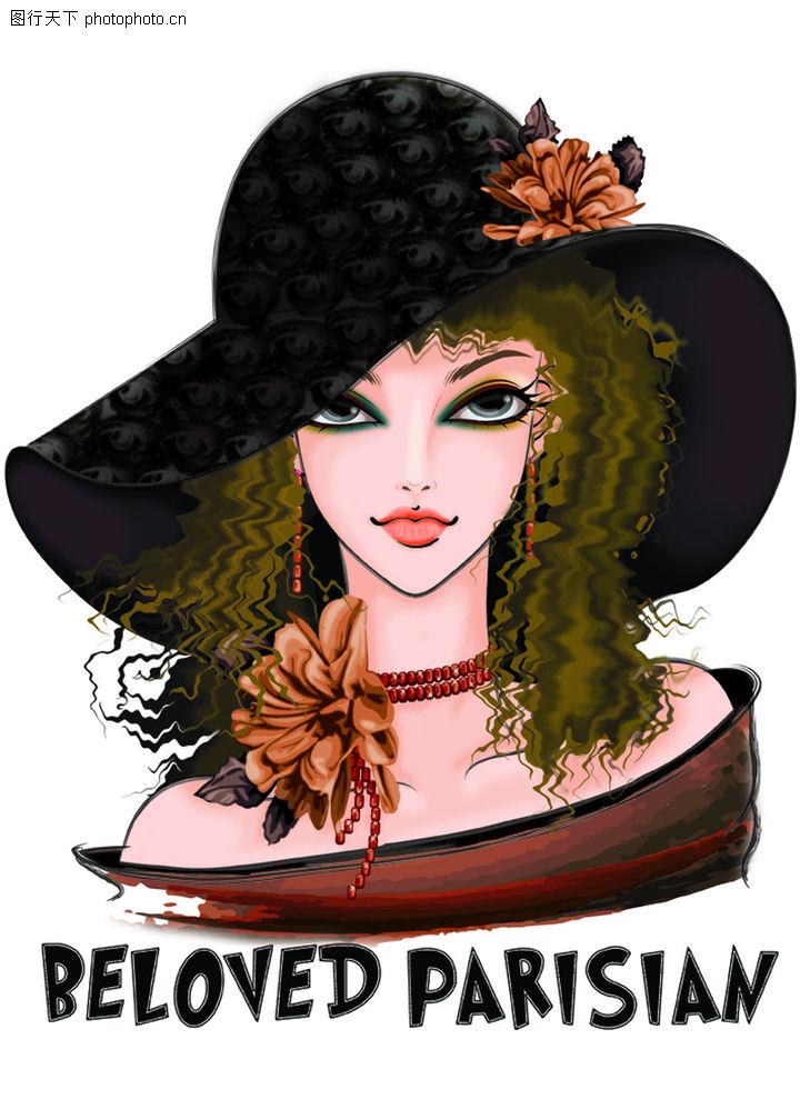 时尚人物,彩绘人物情景模板,帽子 项链 长发,时尚人物0033