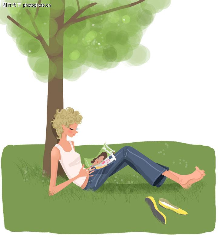 坐在树下看书简笔画