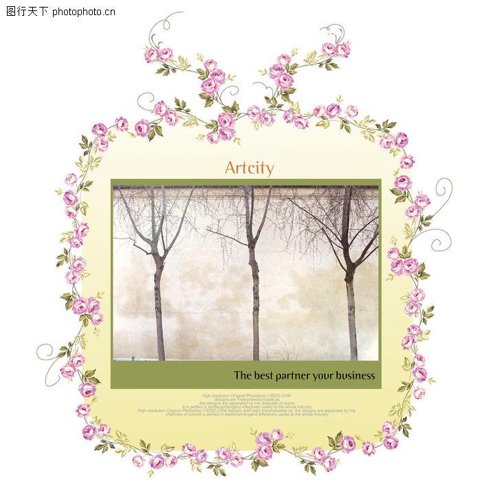 饰角素材,花纹边框,花饰 树木 文字说明,饰角素材0024