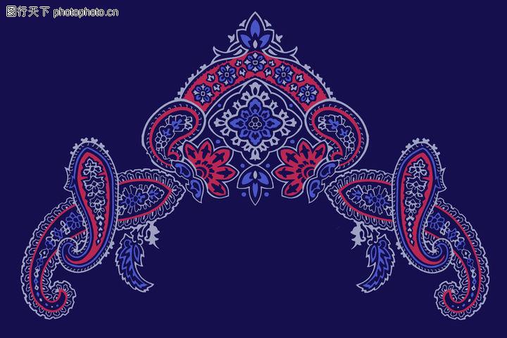 蓝底花纹欧式墙纸贴图