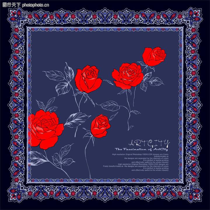 饰角素材,花纹边框,鲜艳 红花 边框,饰角素材0196