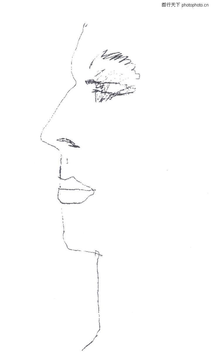 手绘美女侧脸轮廓