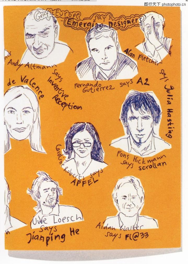 库 视觉设计 铅笔画 各种人物