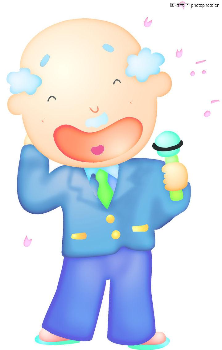 时尚招牌_卡哇伊0028-时尚矢量插画图-时尚矢量插画图库-老人 唱歌 麦克风