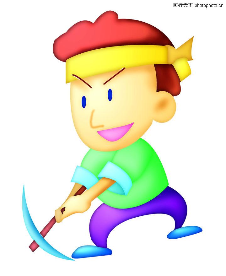 卡哇伊,时尚矢量插画,可爱插图 黄色头巾 拿锄头,卡哇伊0053