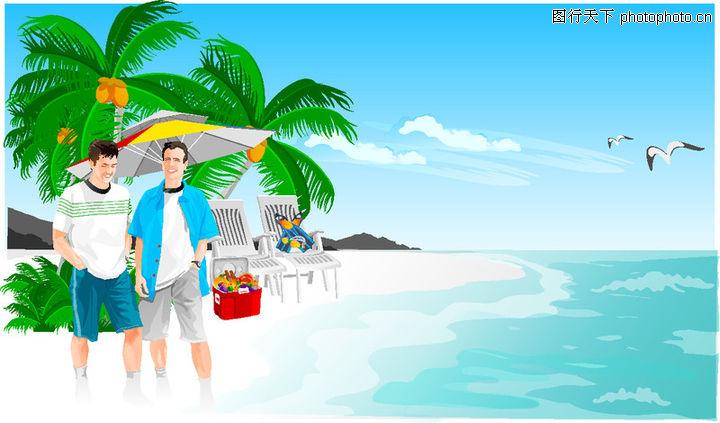 时尚矢量插画,海滩