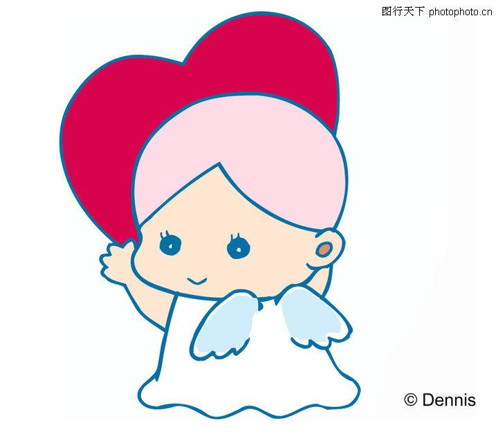 小天使,时尚矢量插画,可爱的小天使,小天使0045