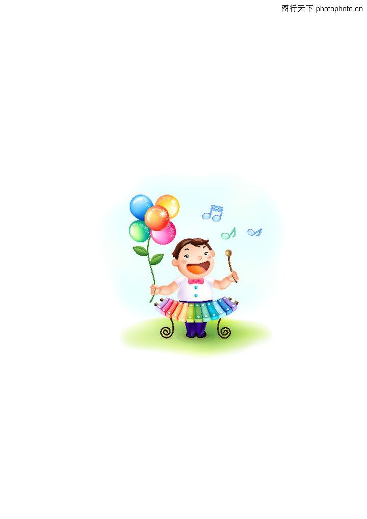 小孩 时尚矢量插画 小孩子 彩色气球 飞起的音符