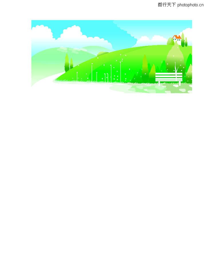 春天,时尚矢量插画,公园 长椅 神态 植物 清新,春天0005