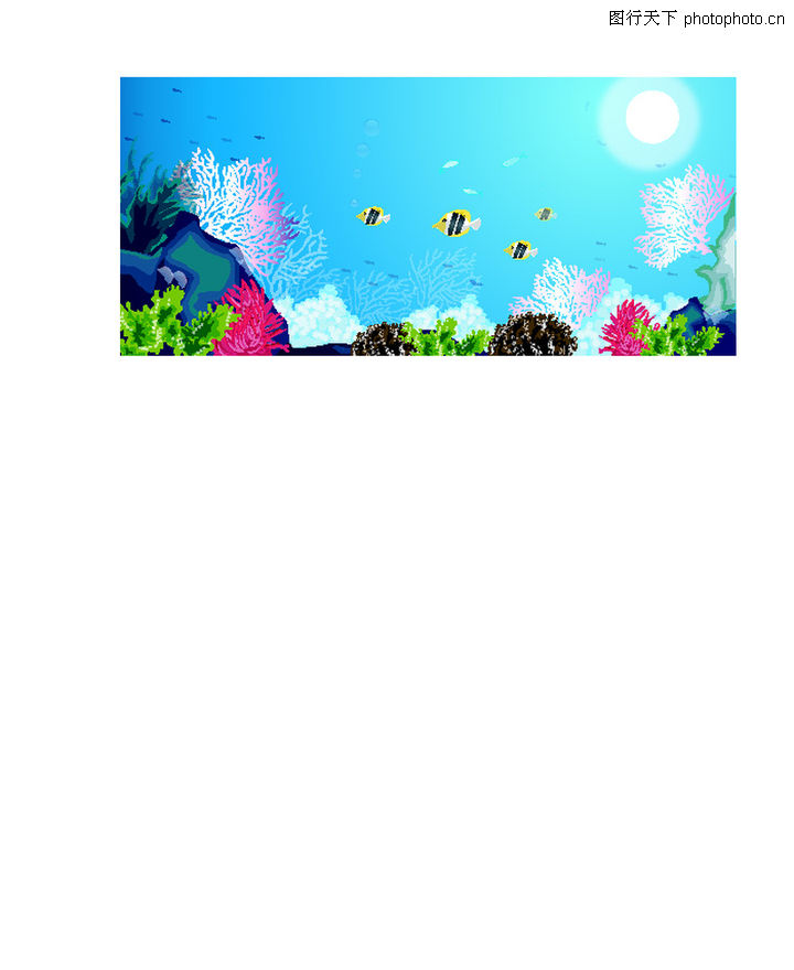 春天,时尚矢量插画,海底世界 热带鱼 海藻 珊瑚 游弋,春天0010