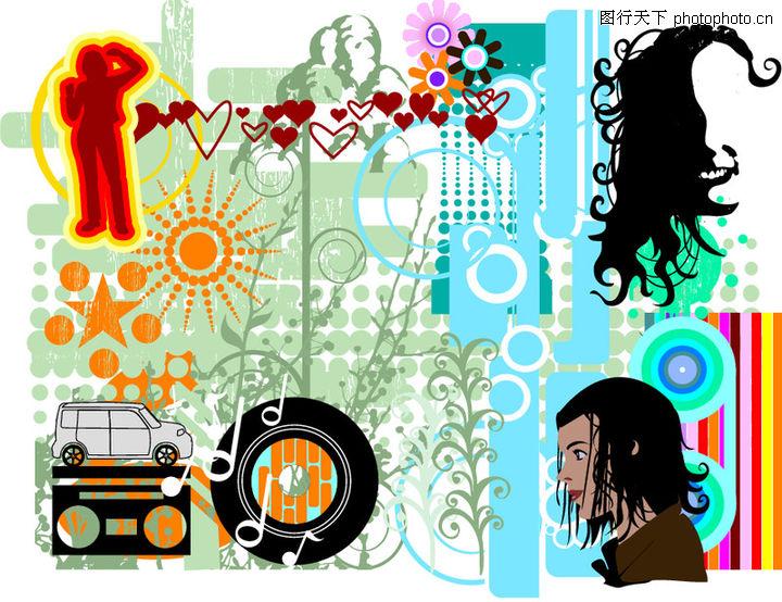 极品图标素材,时尚矢量插画,头发 发型 装饰物,极品图标素材0036