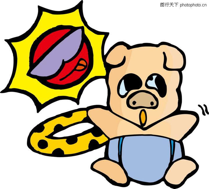 猪0023-猪图-时尚矢量插画图库-玩偶 救生圈 可爱