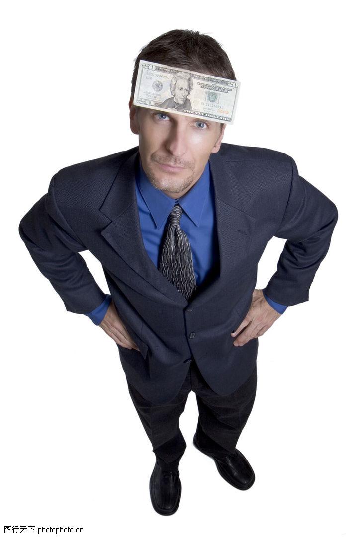 工作压力,人物,仰视 双手插腰 钱,工作压力0038