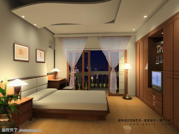 室内空间艺术,综合图片,卧室 木质柜子 薄纱窗帘,室内空间艺术0180