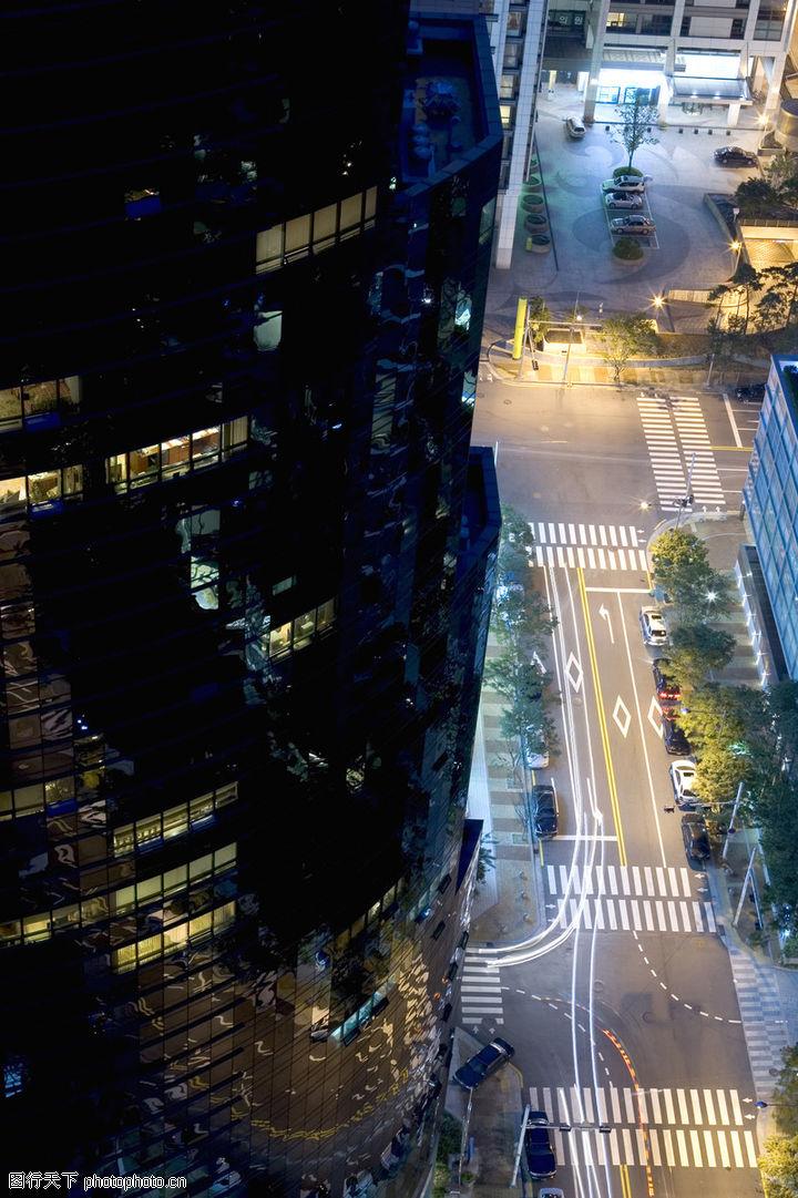 城市夜景,风景系列,俯视街道 人行横道,城市夜景0037