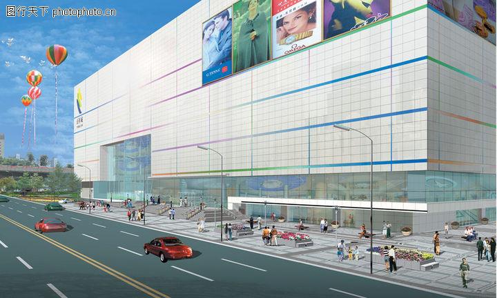 办公商业景观图 国内建筑设计案例图库 彩球 购物商场 超市