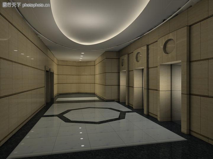 某高档高层住宅小区电梯厅室内装饰方案效果图3dmax