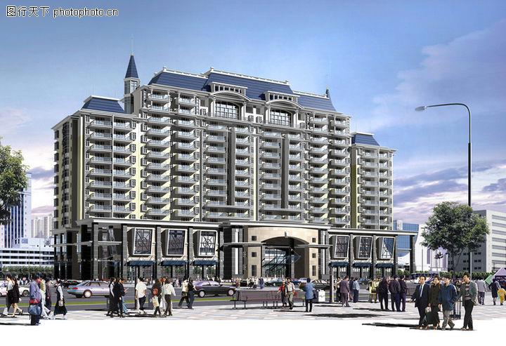 鸿运星城,国内建筑设计案例,路灯 行人 市民,鸿运星城0002