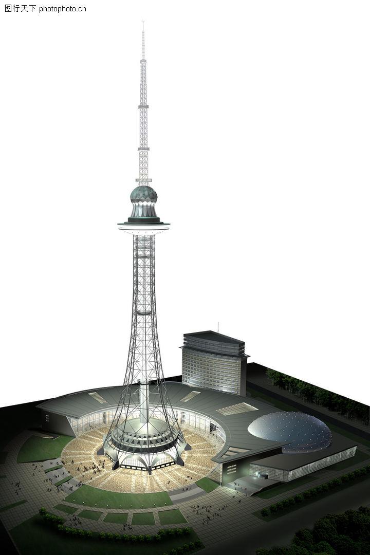 黑龙江广电集团,国内建筑设计案例,尖塔 广场 夜晚,黑龙江广电集团0003