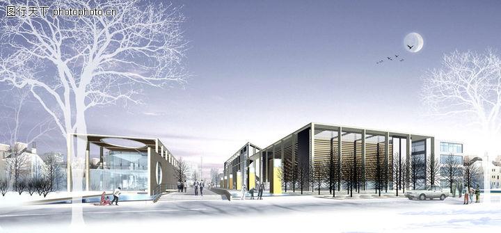 龙兴学校,国内建筑设计案例,月亮 雪景 树,龙兴学校0001