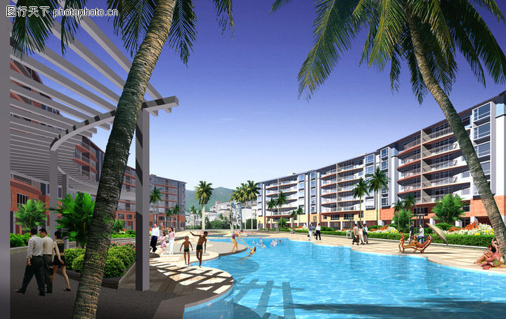 龙珠花园,国内建筑设计案例,水池 游泳池 椰树,龙珠花园0002