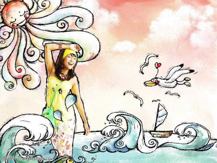可爱小仙子,人物模板,太阳 海浪 海鸥 水珠 笑容,可爱小仙子0005