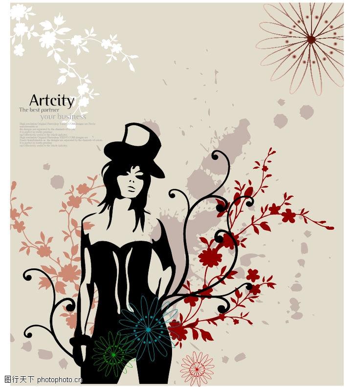 女人与花0037 女人与花图 前卫设计图库