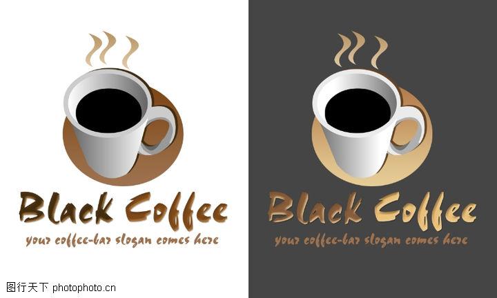 插画,咖啡 黑咖啡 杯子,精美卡