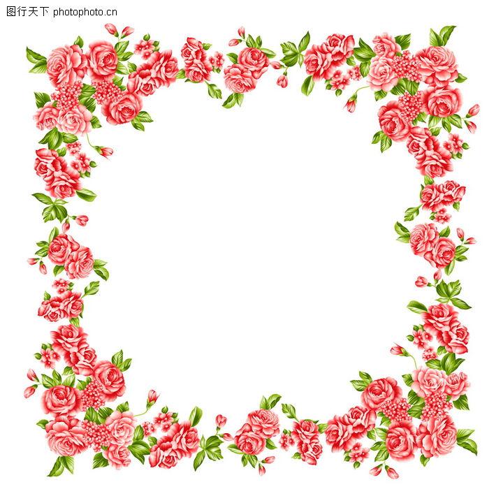 树叶纹理笔刷_花卉边框0010-纹理边框图-纹理边框图库-红玫瑰 鲜花 醒目