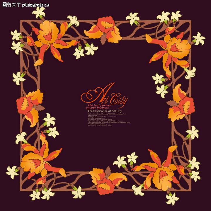 饰角素材,纹理边框,花边 细藤 小花,饰角素材0090